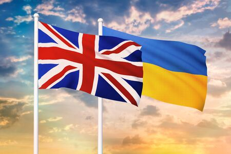 Relationship between the United Kingdom and the Ukraine. Two flags of countries on heaven with sunset. 3D rendered illustration.