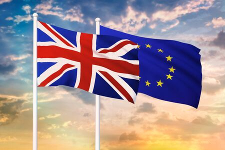 Relationship between the United Kingdom and the European Union. Two flags of countries on heaven with sunset. 3D rendered illustration.
