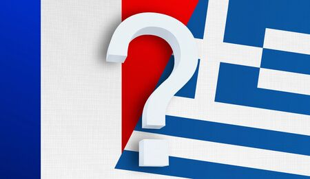 Relationship between the France and the Greece. Two flags of countries on background. 3D rendered illustration.