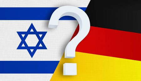Relationship between the Israel and the Germany. Two flags of countries on background. 3D rendered illustration.