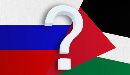 Relationship between the Russia and the Palestine. Two flags of countries on background. 3D rendered illustration.