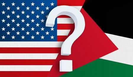 Relationship between the USA and the Palestine. Two flags of countries on background. 3D rendered illustration. Фото со стока
