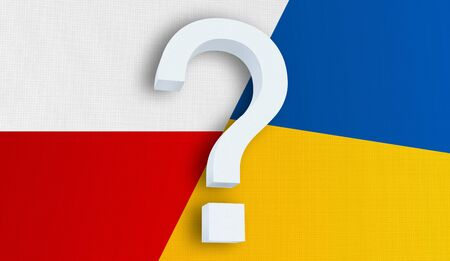 Relationship between the Poland and the Ukraine. Two flags of countries on background. 3D rendered illustration. Фото со стока