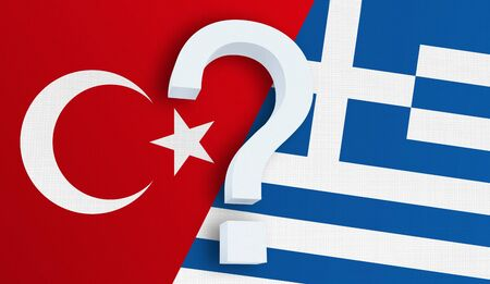 Relationship between the Turkey and the Greece. Two flags of countries on background. 3D rendered illustration. Фото со стока