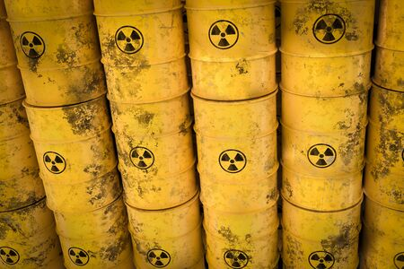 Yellow radioactive waste barrels - nuclear waste dumping concept. 3D rendered illustration.