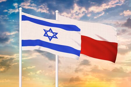 Relationship between the Israel and the Poland. Two flags of countries on heaven with sunset. 3D rendered illustration. Фото со стока