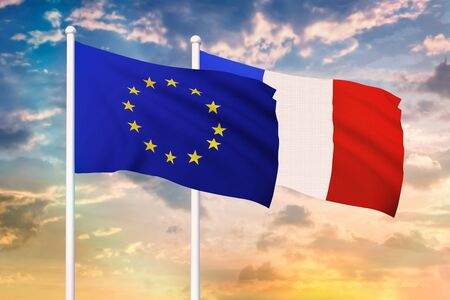 Relationship between the European Union and the France. Two flags of countries on heaven with sunset. 3D rendered illustration. Фото со стока
