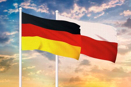 Relationship between the Germany and the Poland. Two flags of countries on heaven with sunset. 3D rendered illustration.