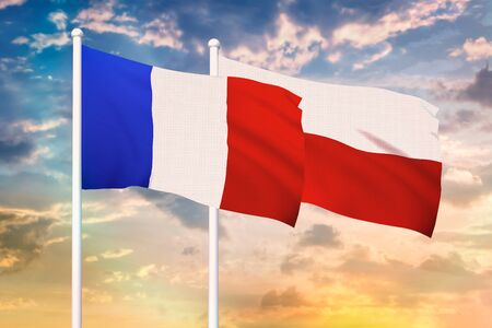 Relationship between the France and the Poland. Two flags of countries on heaven with sunset. 3D rendered illustration. Фото со стока