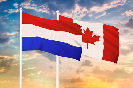 Relationship between the Netherlands and the Canada. Two flags of countries on heaven with sunset. 3D rendered illustration.
