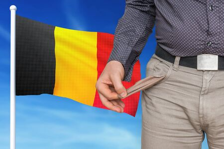 Financial crisis in Belgium - recession. Man with empty pockets. 3D rendered illustration. Imagens