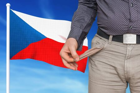 Financial crisis in Czech Republic - recession. Man with empty pockets. 3D rendered illustration. 版權商用圖片