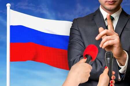 Press conference in Russia. Candidate give interview to media. 3D rendered illustration. Imagens