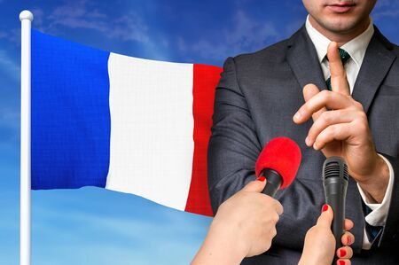 Press conference in France. Candidate give interview to media. 3D rendered illustration.
