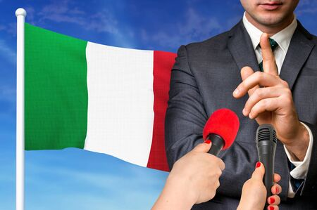 Press conference in Italy. Candidate give interview to media. 3D rendered illustration.