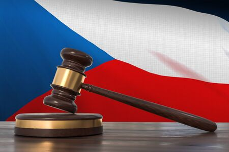 Justice in Czech Republic. Wooden gavel in lawyer office. 3D rendered illustration.