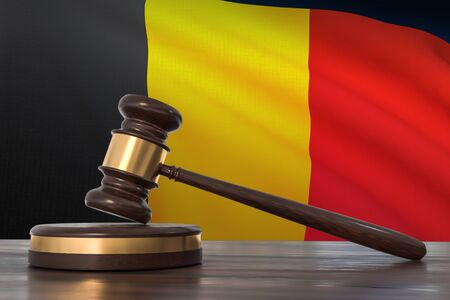 Justice in Belgium. Wooden gavel in lawyer office. 3D rendered illustration.