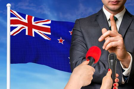 Press conference in New Zealand. Candidate give interview to media. 3D rendered illustration.