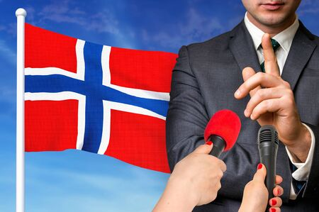 Press conference in Norway. Candidate give interview to media. 3D rendered illustration.