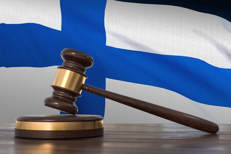 Justice in Finland. Wooden gavel in lawyer office. 3D rendered illustration. 写真素材
