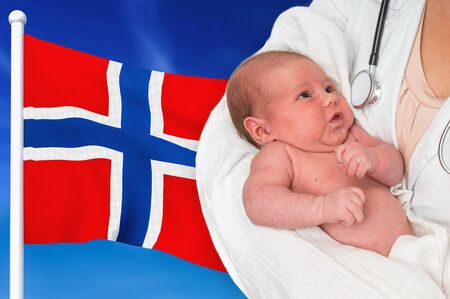 Birth rate in Norway. Newborn baby in hands of doctor on national flag background.