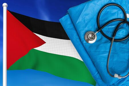 Health care in Palestine. Stethoscope and medical uniform on national flag background. 스톡 콘텐츠