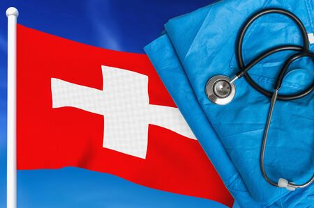 Health care in Switzerland. Stethoscope and medical uniform on national flag background.