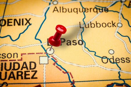 PRAGUE, CZECH REPUBLIC - JANUARY 12, 2019: Red thumbtack in a map. Pushpin pointing at El Paso city in America, Texas. Sajtókép