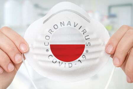 Respirator mask with flag of Poland - Coronavirus COVID-19 epidemic concept