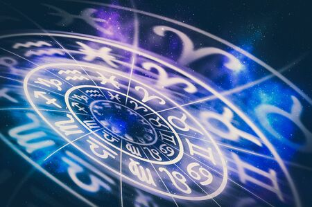 Zodiac signs inside of horoscope circle - astrology and horoscopes concept - retro style