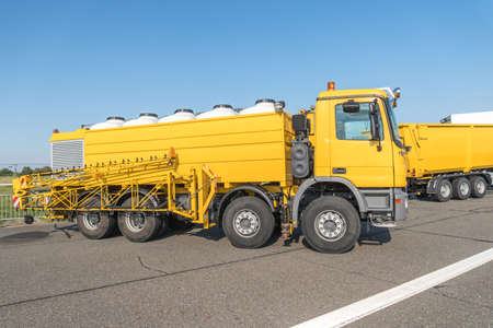 Airport runway sprayer. It is a big car destined for removal snow and icing.