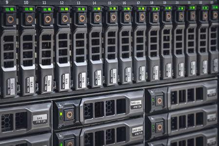 Storage server with many HDD disks inside rack in server room - data center concept Reklamní fotografie