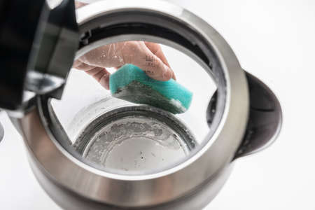 Kettle with white limescale surface - hard water concept Stok Fotoğraf