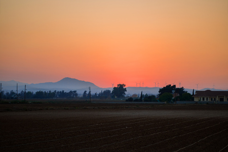 Dawn sunrise over the farm field, orange sky, fog, downy mildew, mountains, Renewable energy with wind turbines, Horizontal. Mideterranian, cyprus, agriculture ecology