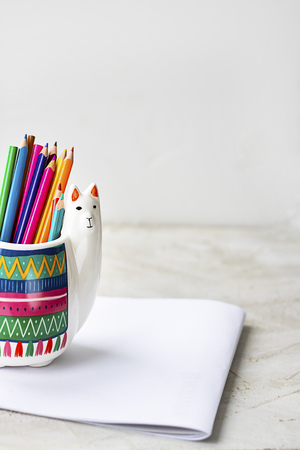 White Llama mug with coloured pencils and with mockup album on light grey empty background, horizontal with copy space for text or design. Trendy animal accessories for school and office