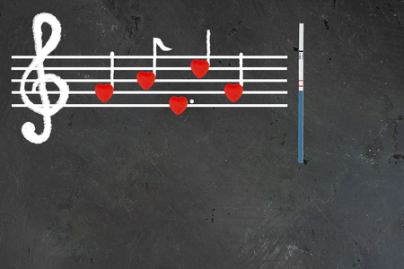 Music note sheet on chalkboard, notes made up with red hearts and pregnancy test in the end Creative concept about sexual education and protection from unwanted pregnancy, protection from HIV diseases