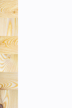Line of textured wooden square blocks on white background, Vertical with copy space for text and design about wood work, natural timber and building Banco de Imagens