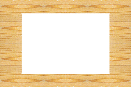 Frame made wuth textured wooden square blocks, white empty background in center for text and design about wood work, natural timber, building, Horizontal, copy space Banco de Imagens