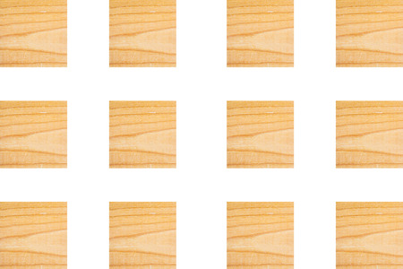 Lines of textured wooden square blocks on white background, Horizontal for creative design about wood work, natural timber and building Banco de Imagens