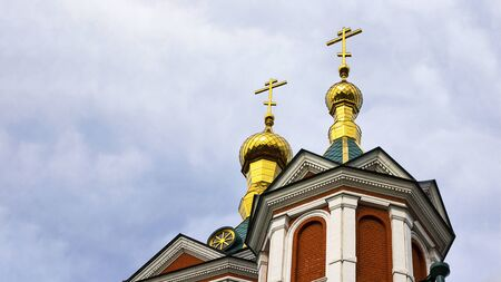 Beutiful dome of Orthodox Church in Kolomna, city Golden Ring of Russia. Horizontal banner with copy space. Sightseeing, History, travelling, religion, architecture