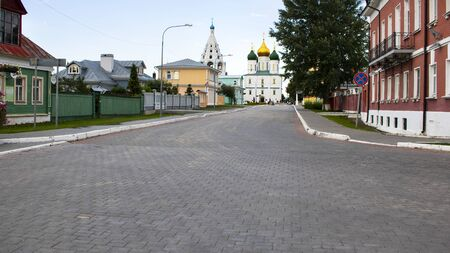 View on Kolomna street with bell tower of John the Apostle and Archangel Michael Church, Kolomna kremlin. Sightseeing and travelling in Russia. History, Religion, Horizontal banner