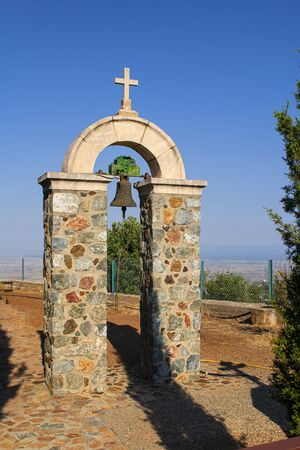 Church bell of the Stavrovouni Monastery, Greek Orthodox monastery which stands on the top of the mountain, Cyprus. Horizontal