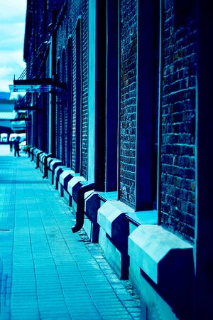 Red bricks houses and pedestrial road, defocused people seen from far away. Urban, industrial image. Vertical with copy space. Classic, blue monochrome, trend 2020