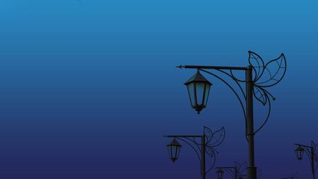 street beutiful vintage lamps aligned with beautiful sky with white clouds on background. Horizontal banner, copy space. Classic, blue monochrome, trend 2020