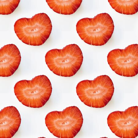 Photographic collage, seamless pattern with Isolated heart shape red strawberry cut in half on a white background. Macro square image about fresh organic berries, harvets, healthy food and vitamin C