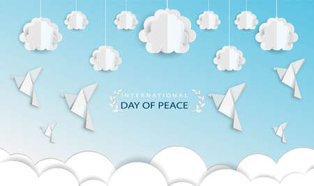 Clouds and dove with origami paper International peace day Ilustração