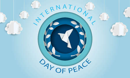 Paper cutout pigeon with leaf symbol of peace. international peace day
