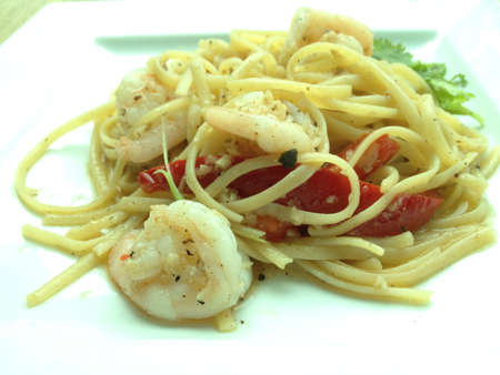 mouthwatering: Mouth-watering delicious seafood pasta.