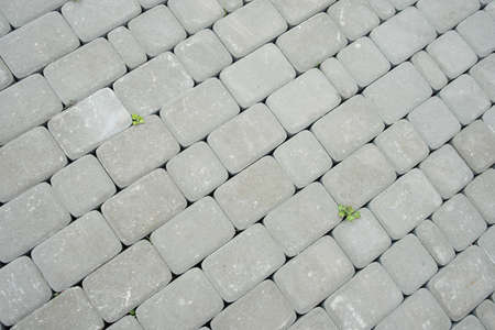 Paving stones. Concept of laying paving slabs and pavers. Paving stones. Concrete pavement blocks Stockfoto - 129306636