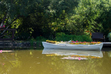 flowers in a white boat floating freely on the lake in the Park, a boat instead of a flower bed, landscaping